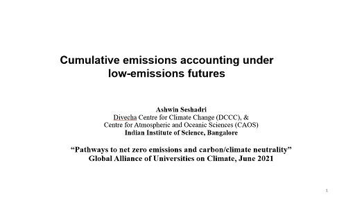 Cumulative emission accounting under low-emissions futures