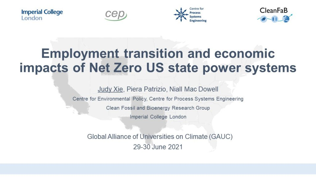 Employment transition and economic impacts of Net Zero US state power systems